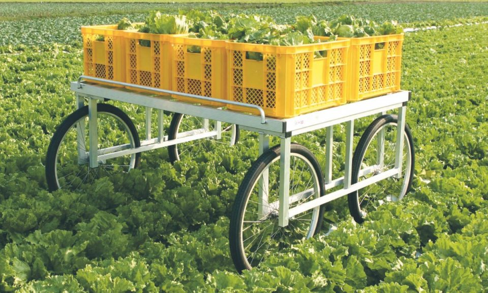 アルミ製 伸縮式サイドガード付収穫台車(強力型)