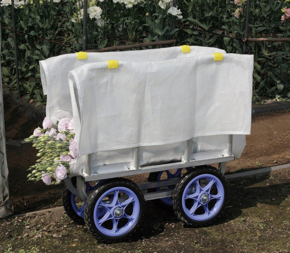 アルミ製 側枠固定式花の収穫台車